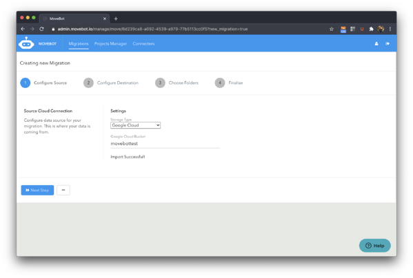 Google Cloud Storage Migration configuration