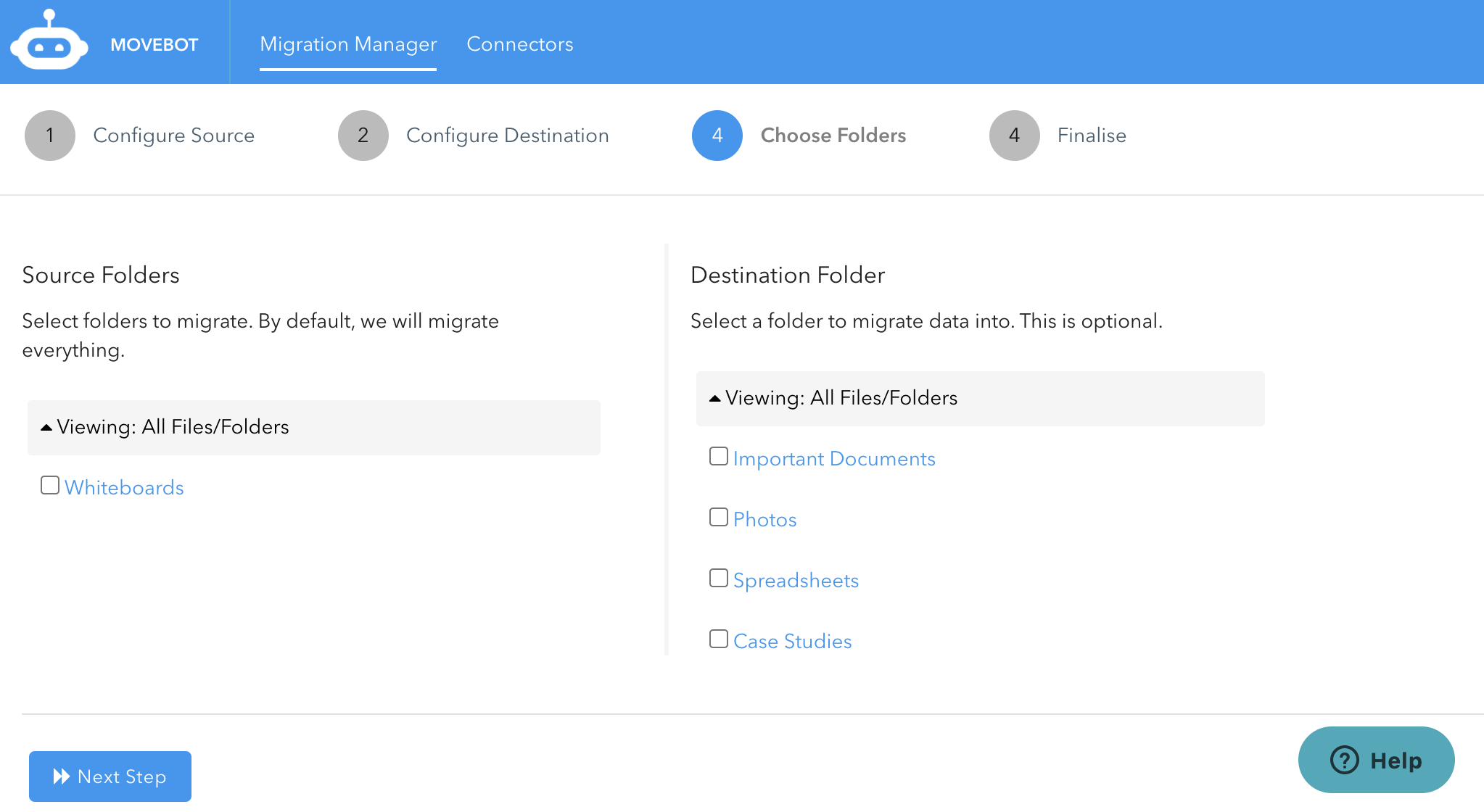 select folders to transfer from Dropbox into Google Drive