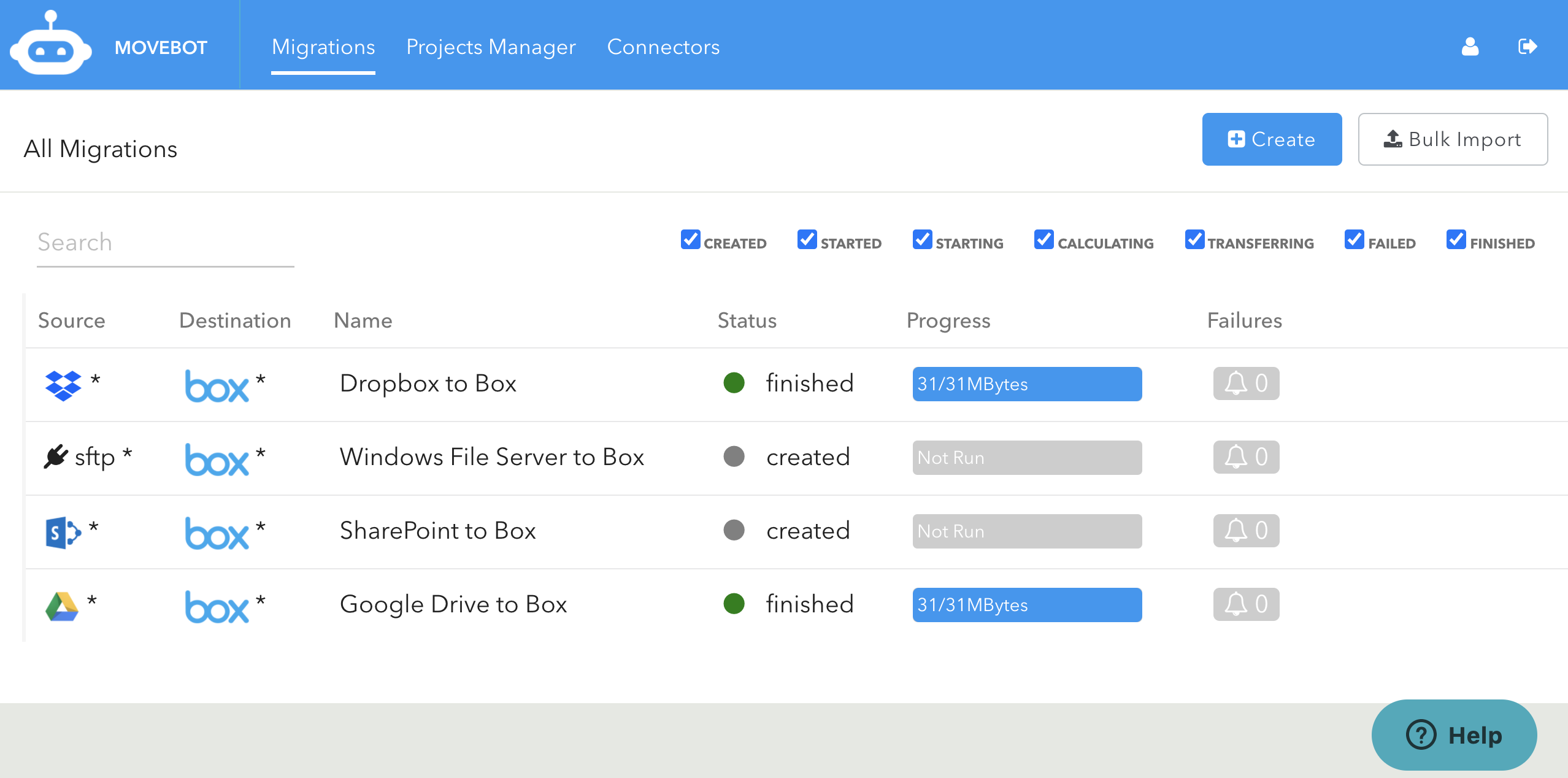 Migrations to Box