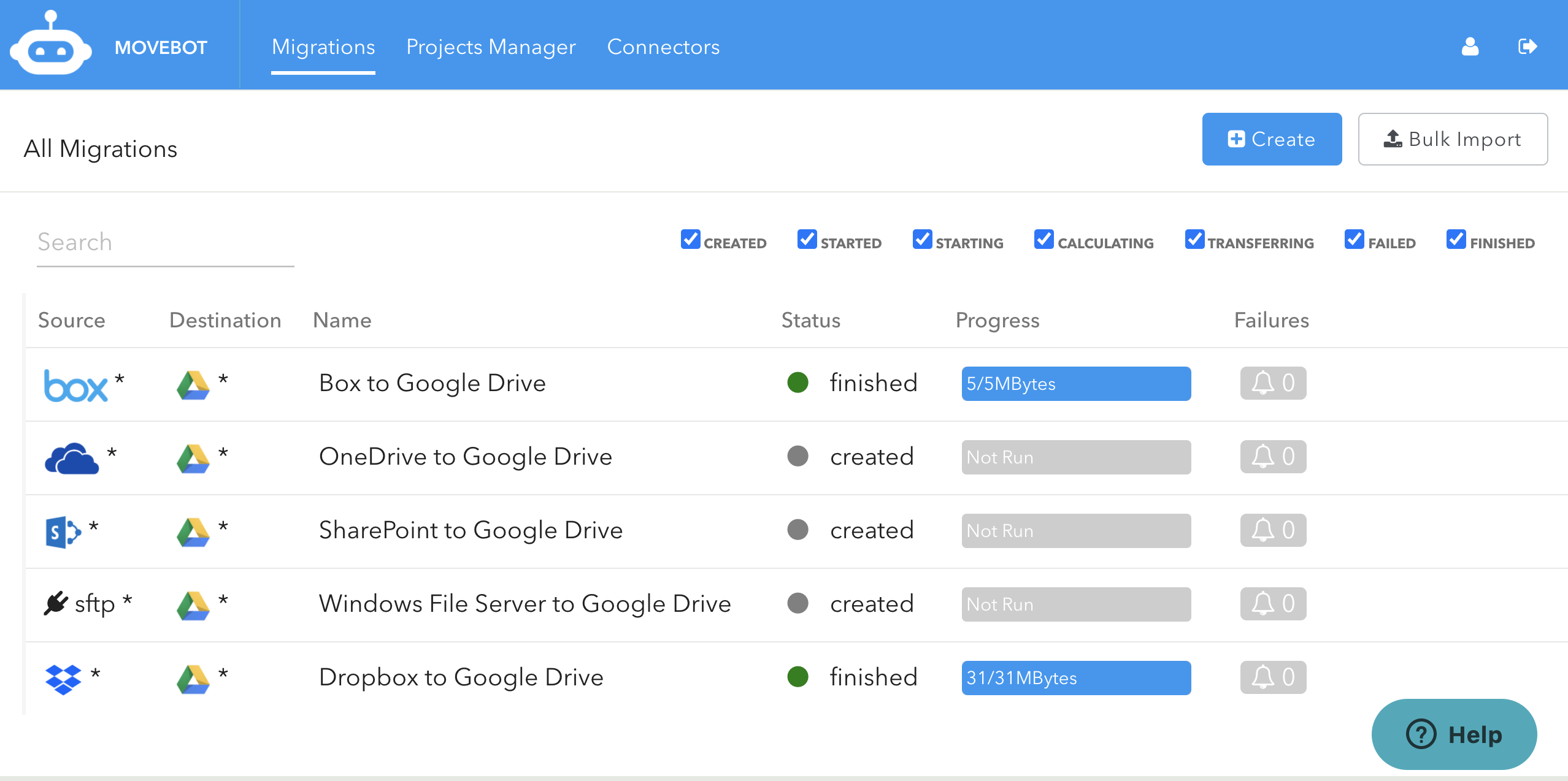 Data migration to Google Drive